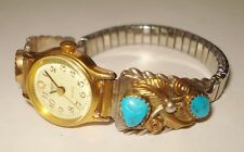 VINTAGE TIMEX WATCH BEAUTIFUL STERLING SILVER NATIVE DESIGN GOLD OVERLAY NR