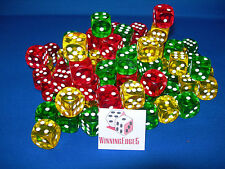 NEW 18 ASSORTED YELLOW GREEN AND RED ACRYLIC DICE 16MM 3 COLORS 6 OF EACH COLOR
