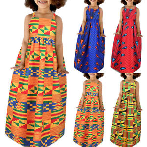 Kids Girls Sleeveless Print Sling Maxi Dress Holiday Casual African Style Summer
