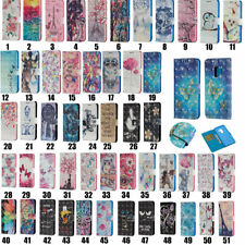 Painted 3D Flip Leather Card Stand Case Wallet Cover For Samsung S9 S9+ iPhone X