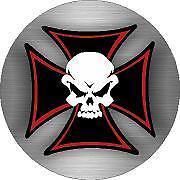 Skeleton Maltese Cross Sticker Decal