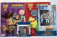 Lot Of 4 Disney Toy Story 4 Jumbo Coloring Activity Books Crayons Marker Fun Set