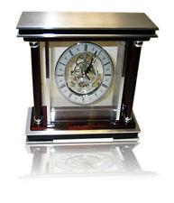 MANTEL CLOCK QUARTZ MOVEMENT ANTIQUE TABLE CLOCK WOOD METAL GLASS ROMAN NUMERALS