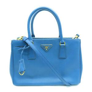 Prada Killer Bag Satchel Shoulder Handbag Saffiano Leather Blue