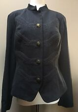 CAbi Military Embroidered Charcoal Gray Lined Jacket Size 10