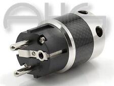 rhodinierter Schukostecker für Netzkabel bis 16mm und 6qmm Carbon Design Rhodium
