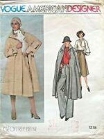1970's VTG VOGUE Coat,Skirt,Pants,Blouse Geoffrey Beene Pattern 1278 Size 12