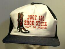 Vintage Boot Leg Shoe Shore Trucker Hat Cap Cowboy White and Blue