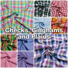 Cotton/ Polycotton Summer Check Plaid Gingham Shirt Shirting Dressmaking Fabric