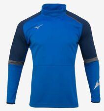 Mizuno Men Half-Zip Warm-Up Jacket L/S Jersey Blue Tee Casual Shirt P2MC9K0226