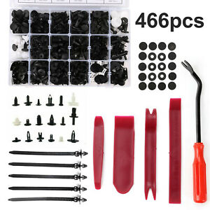 466 x Plastic Car Push Pin Rivet Trim Clips Panel Fasteners Interior Assortments