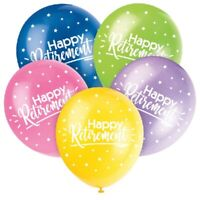 "5 x Happy Retirement 12"" Latex Balloons Helium Quality Party Decoration Mixed"