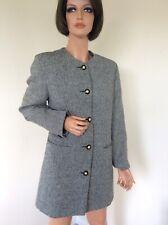 "Avoca Ireland knee length Black White Wool Irish Tweed 3/4 Jacket Coat  L 40"""