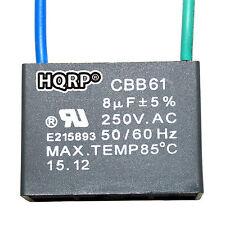 HQRP Capacitor para Hampton Bay de Ventilador 8uf, 2-Alambres / CBB61 Reemplazo