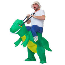 Adult Inflatable Dinosaur Fancy Dress Rider Costume Halloween Hen Stag Suit Hat