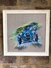 Bugatti Goodwood Revival Carfest original framed oil painting new from artist.