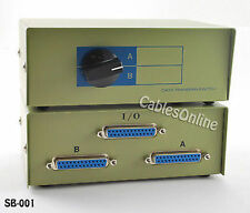 2-Way A/B I/O DB25 Parallel Printer Manual Rotary Switch Box, Metal - SB-00
