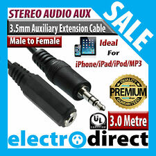 3.0M 3.5mm Male to Female Extension AUX Stereo Audio Cable Jack iPhone iPad iPod