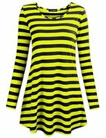 FULVM Women's Casual Tunic Tops Stripe Pattern, Yellow Black, Size XX-Large PPuQ