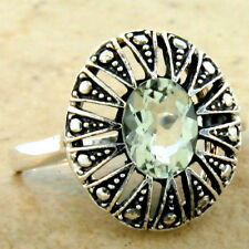 GENUINE GREEN AMETHYST VICTORIAN 925 SILVER ANTIQUE STYLE RING SIZE 9,     #1114