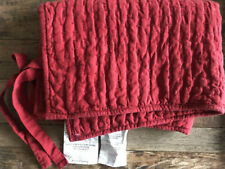 $39 Pottery Barn Pickstitch Cotton/Linen Quilted Stnd Sham - Red Cardinal NWT