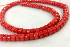 AAAAA+ 4x6mm Natural  Red coral Gemstone Rondelle Loose Beads15""