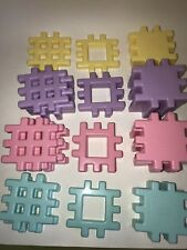 Vintage LITTLE TIKES Lot of 36 Plastic WAFFLE BLOCKS Squares Pastel PInk Purple