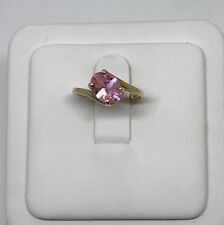 10k Yellow Gold Pink Sapphire Ring Size 4