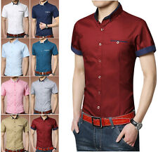D84 New Men's Summer Luxury Casual Slim Fit Stylish Short Sleeve Dress Shirts