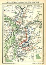 B14 Historische alte Karte 1898: Die Schlacht von Königgrätz Hradec Králové