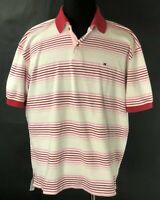 Tommy Hilfiger Mens/Womens XL Polo Golf Shirt Pink Striped 100%Mercerized Cotton