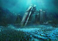 A1 | Underwater Ruins Poster Art Print 60 x 90cm 180gsm Atlantis Water #14031