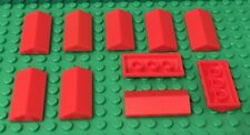 LEGO X10 New Red Slope 25° (33) 2 x 4 Double / Roof Top Parts Lot (#3299)