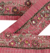 Vintage Sari Border Antique Hand Beaded Woven 2 YD Indian Trim Ribbon Pink Lace
