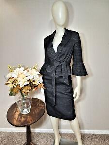 NINE WEST Black/Silver 2-Piece Belted Jacket Skirt Suit-Size 2
