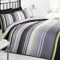 Just Contempo Striped Duvet Cover Set, Double, Grey