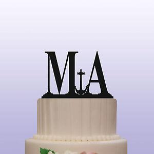 Anchor Monogram Acrylic Letters Wedding Cake Topper Decoration & Keepsake