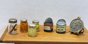 VTG Artisan Glass Canning Jars Metal Open Cans Dollhouse Miniature 1:12