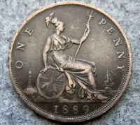 GREAT BRITAIN QUEEN VICTORIA 1889 ONE PENNY, BETTER GRADE