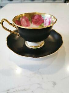 Royal Albert Black Old English Rose Teacup Cup & Saucer Great Shape!