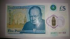 AA27 Bank of England Polymer £5 Five Pound Note