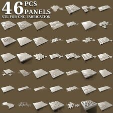 3d stl model cnc router artcam aspire 46 pcs panel collection