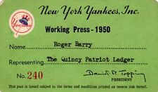 1950 Ticket Pass Whitey Ford First Win New York Yankees 236 W Life/Joe Di Maggio