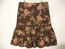 Jones of New York Skirt Sz. 16 Chocolate Brown Pink Green Floral #824