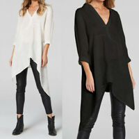 Women Loose Long Sleeve Casual Asymmetric Blouse Shirt Tops Cotton T-Shirt Plus