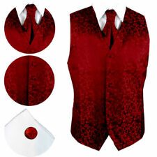 New Burgundy Jacquard Waistcoat + Cravat + Cufflink - 8 Sizes