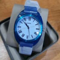 NWT 💙 FOSSIL ES4859 Jude Three-Hand Cobalt Blue Silicone Band 38mm Watch