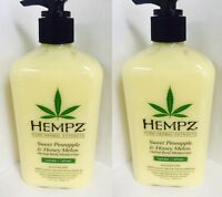 2 HEMPZ SWEET PINEAPPLE & HONEY MELON Daily Herbal Body Moisturizer Lotion 17 oz