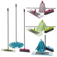 4 Piece Microfiber Cleaning Mop Handle & Broom Set Dirt Sweeping Home Indoor NEW