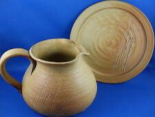 YARRA GLEN POTTERY Australia ABSTRACT POTTERY JUG & PLATE Set VG - In Aust